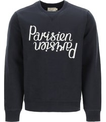 maison kitsuné mirror logo crewneck sweatshirt
