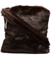 raf simons faux fur shoulder bag - brown