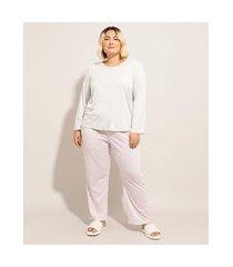 pijama manga longa plus size com estampa xadrez vichy cinza mescla claro