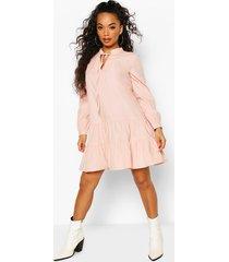 petite long sleeve smock dress, blush