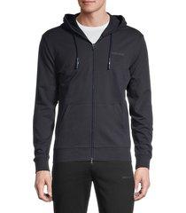 armani jeans men's stretch-cotton hoodie - solid dark - size m