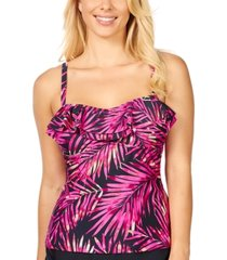 island escape beach bound tahiti printed ruffled tankini, created for macy's women's swimsuit