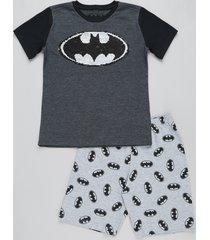 pijama infantil batman com paetê vai e vem manga curta cinza mescla escuro