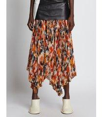 proenza schouler watercolor floral pleated chiffon skirt redmulti/orange 10
