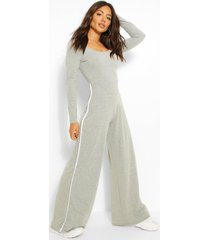 long sleeve side stripe wide leg jumpsuit, grey marl