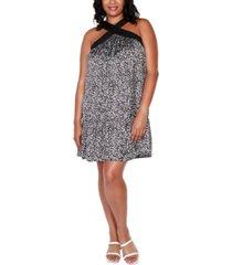 belldini black label plus size printed halter dress with ruffle hem