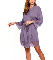 women's ultra soft robe trimmed in tonal lace
