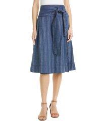women's tory burch side tie faux wrap linen skirt, size 00 - blue