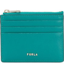 furla logo zipped card case - green