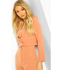crop mix and match tailored blazer, coral