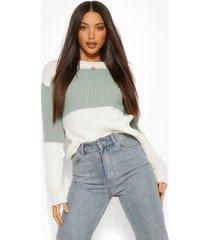 tall gebreide colour block sweater, groen