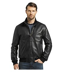 1905 collection tailored fit black lambskin bomber jacket clearance