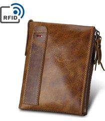 portafoglio antimagnetico del raccoglitore del cuoio genuino di rfid 7 con il sacchetto di moneta degli uomini per gli uomini