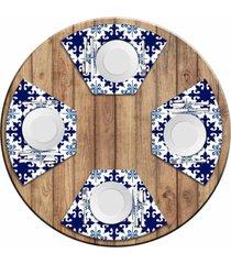 jogo americano love decor para mesa redonda wevans ladrilhos azuis kit com 4 pçs