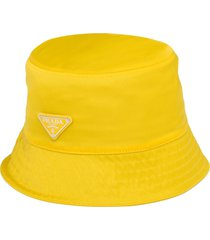 prada logo triangle bucket hat - yellow