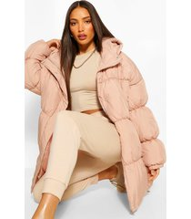 tall hooded puffer jacket, pink