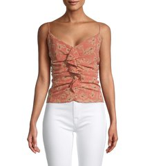 astr the label women's floral-print ruched top - clay frill - size s