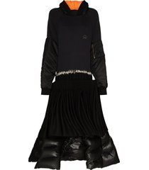 duran lantink reconstructed hoodie midi dress - black