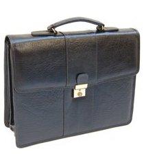 pasta executiva estilo maleta em couro - preto