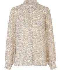 blouse met print lacing  beige
