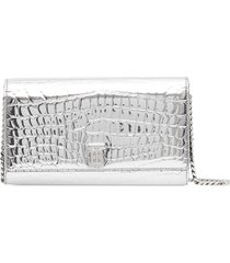 burberry embossed detachable strap wallet - silver
