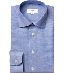 men's big & tall eton contemporary fit cotton & linen dress shirt, size 18.5 - blue