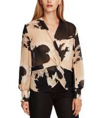 vince camuto bubble-sleeve cowhide-print front-twist top