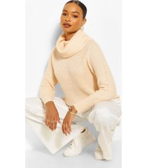 roll neck fisherman sweater, peach