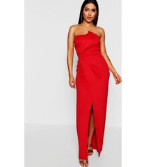 bandeau wrap detail split maxi bridesmaid dress, red
