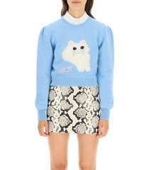 alessandra rich cropped knit cat sweater