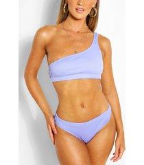 rib one shoulder high waist bikini, lilac
