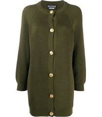 boutique moschino longline ribbed knit cardigan - green