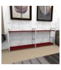 estante industrial aço branco 180x30x68cm (c)x(l)x(a) mdf vermelho modelo ind36vrest