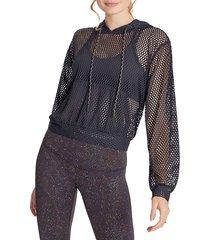 wildfox women's long-sleeve mesh hoodie - black - size xs