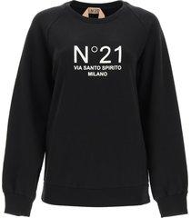 n.21 crewneck sweatshirt with logo print
