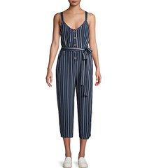 striped self-tie jumpsuit