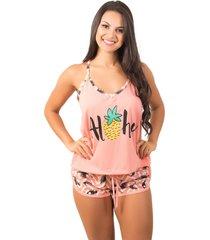 pijama bella fiore modas short doll estampado pink
