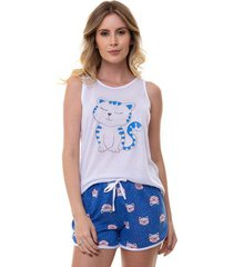 pijama short doll feminino sortido blusa regata luna cuore