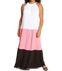 plus size women's michael michael kors colorblock tiered dress, size 1x - pink