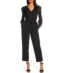 women's donna ricco long sleeve chiffon jumpsuit