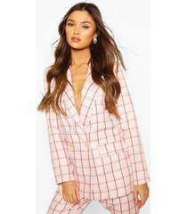 flannel double breasted blazer, pink