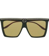 gucci eyewear rhinestone studded square sunglasses - green