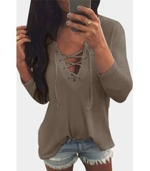 v neck lace up front loose t-shirt in khaki