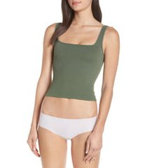 women's free people intimately fp square one seamless camisole, size medium/large - green