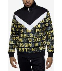 sean john men's printed chevron blocked track jacket