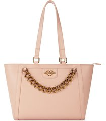 love moschino women's faux leather tote - rosa