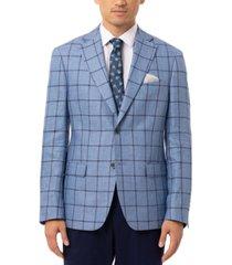 tallia orange men's slim-fit blue & navy windowpane linen sport coat