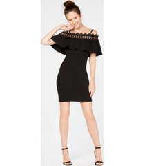 bcx juniors' lace-trim off-the-shoulder dress