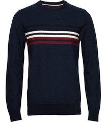 signature knit gebreide trui met ronde kraag blauw lindbergh