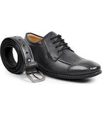 kit sapato social derby sandro moscoloni juarez + cinto masculino - masculino